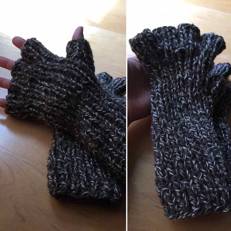 Handmade Gloves: Brown Wool Fingerless Mitts, Large