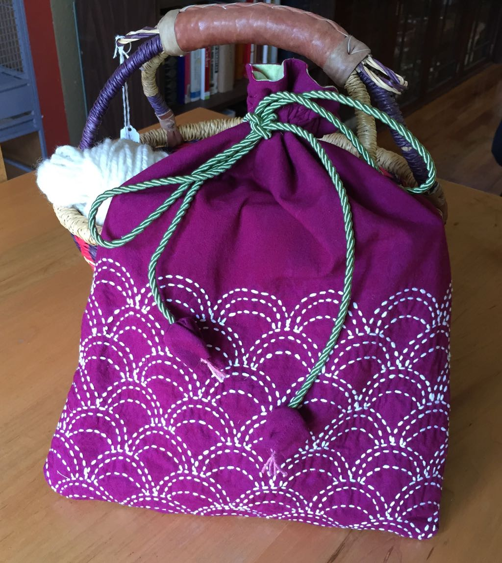 Sashiko Bag For My Lazy Kate Thanks To Susan Briscoe