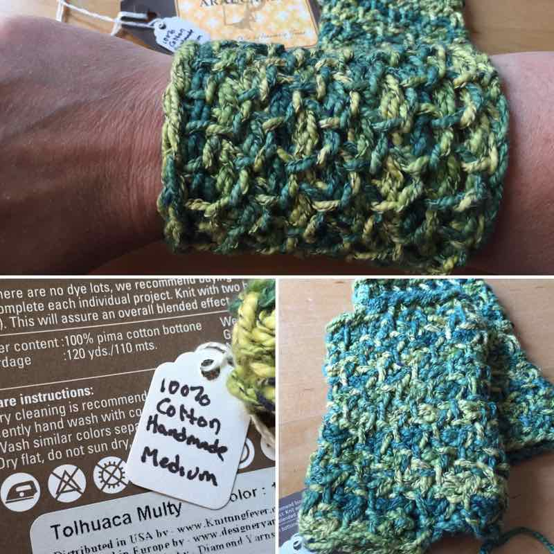 Wristers: Green And Yellow Honeycomb Cotton Gauntlets, Medium