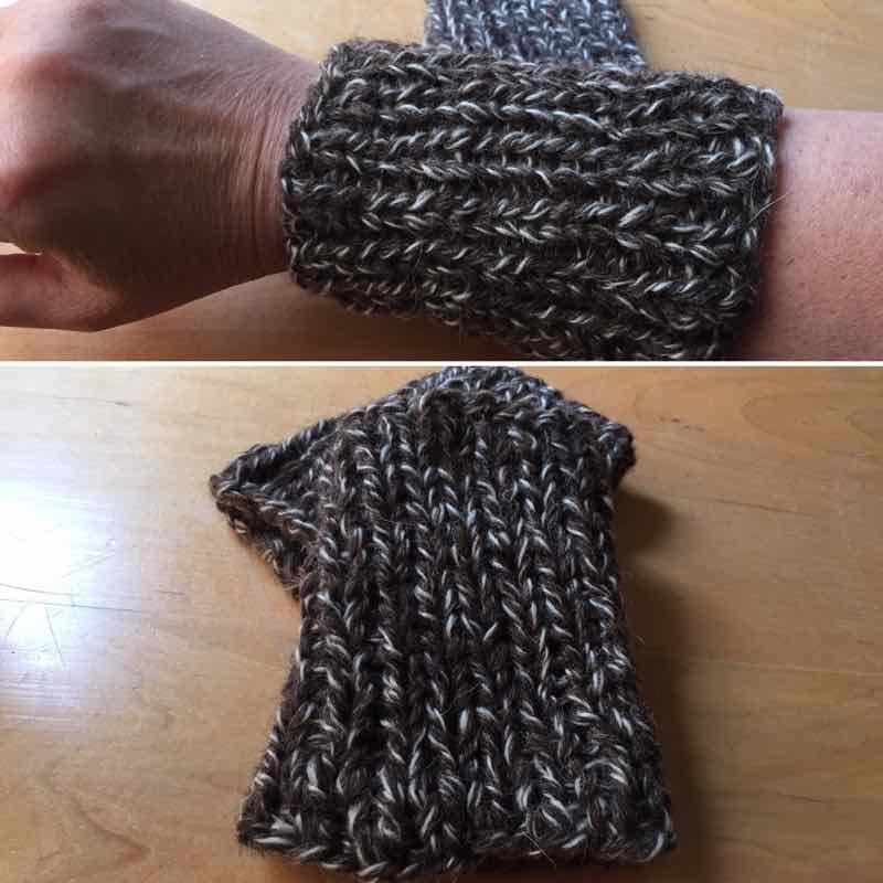 Handmade Wristers: Brown Wool Gauntlets, Large