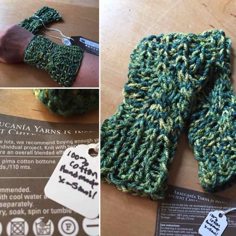 Handmade Wristers: Green And Yellow Cotton Gauntlets, Extra Small