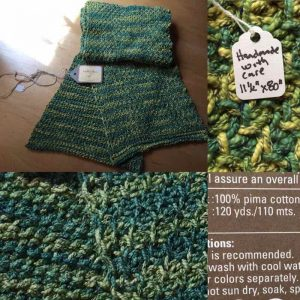 Handmade Wrap: Green And Yellow Cotton Stole, Reversible